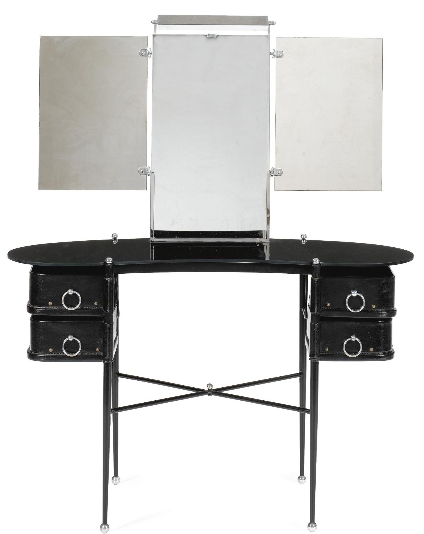 Jacques A DRESSING TABLE chromed metal, black glass
