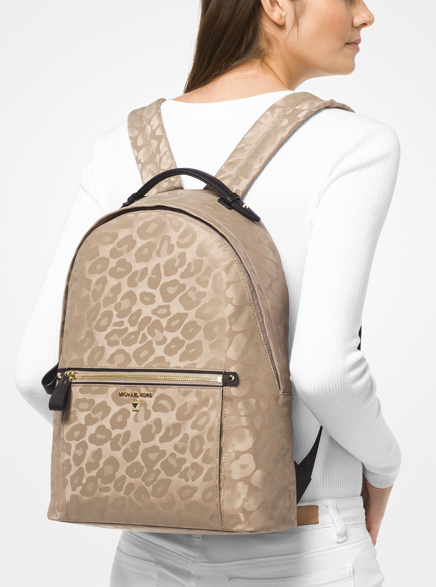 656b65fe45b5 Michael Kors Kelsey Large Leopard Nylon Backpack - Truffle ...