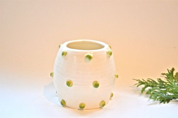 White Vessel with Green Dots Functional Kitchen by EnchanteLLC