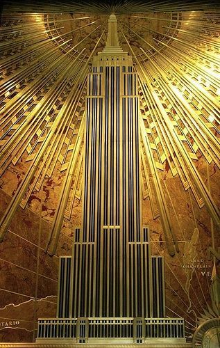 Mural That Hangs In The Lobby Of The Empire State Building Art Deco Paintings Art Deco Buildings Art Deco Architecture