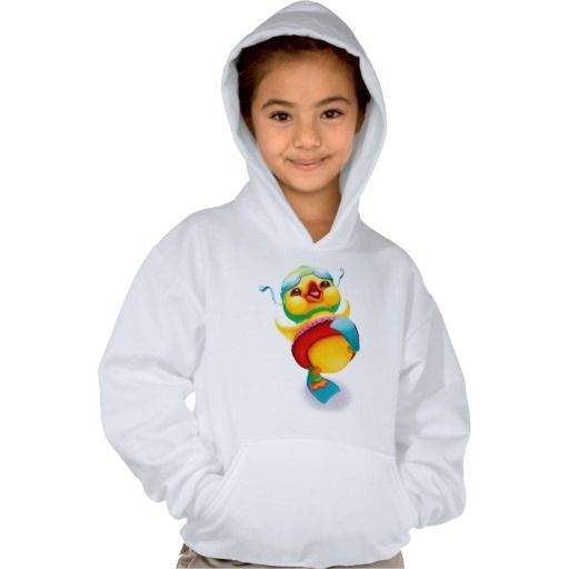 This hoodie for girls features a bright and joyful Edgar the Duck wearing his swim fins and floatie.