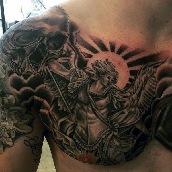 Top 73 St Michael Tattoo Ideas 2020 Inspiration Guide St Michael Tattoo Cool Tattoos For Guys Archangel Tattoo