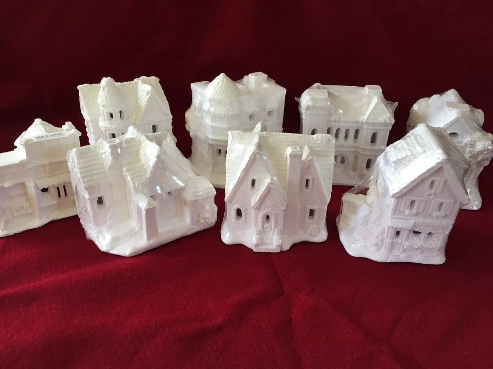 unpainted plaster craft christmas houses