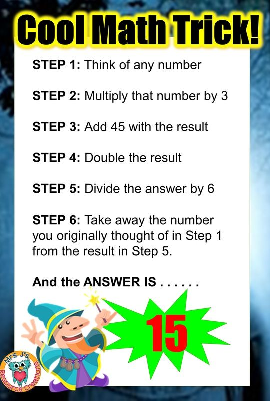 Cool Math trick to get your students doing math with a bit of magic ...