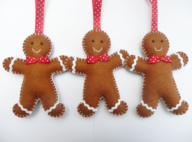 Felt Gingerbread Man Ornament by Devonly Crafts Hand Made