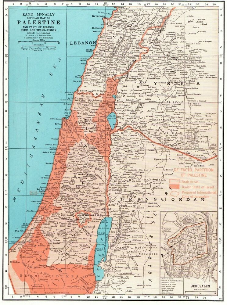 1949 Antique PALESTINE Map Jerusalem Map Syria Lebanon Trans