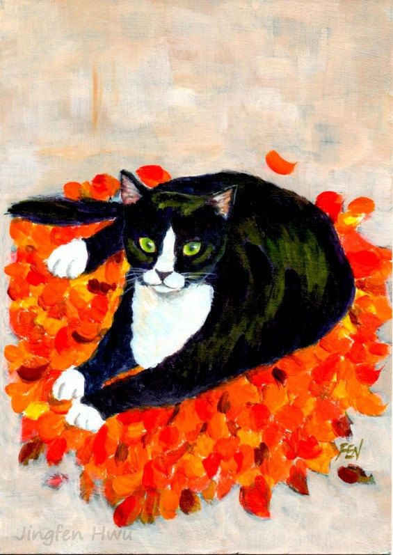A Cat On Fallen Leaf Mat ~ by Jingfen Hwu , tuxedo cat, acrylic painting, autumn, #jingfenhwu