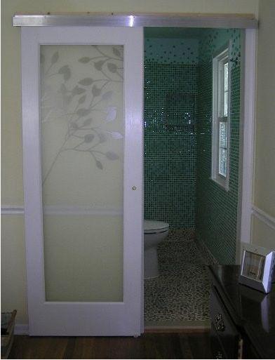 Delightful Claremont Glass Door Hung With Modern Barn Door Style Hardware. Cool  Bathroom. Part 30