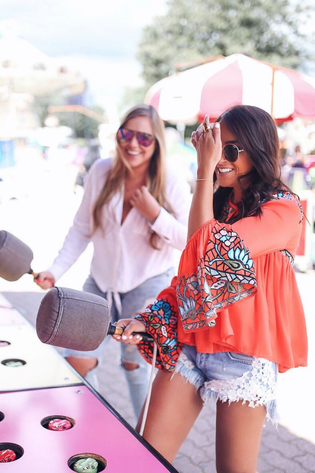 5b13b24142ae Blogger Sarah Lindner of The House of Sequins on what to wear to an  amusement park. Wearing free people good vibes lace hem denim shorts