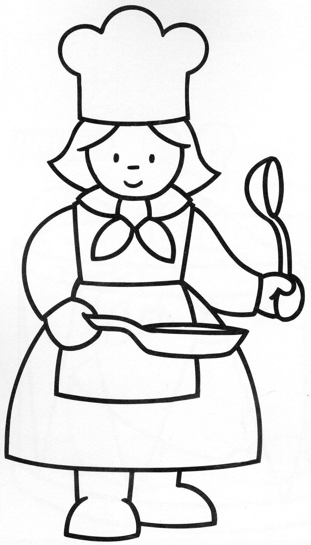 kleurplaat bakkersvrouw met afbeeldingen kleurplaten