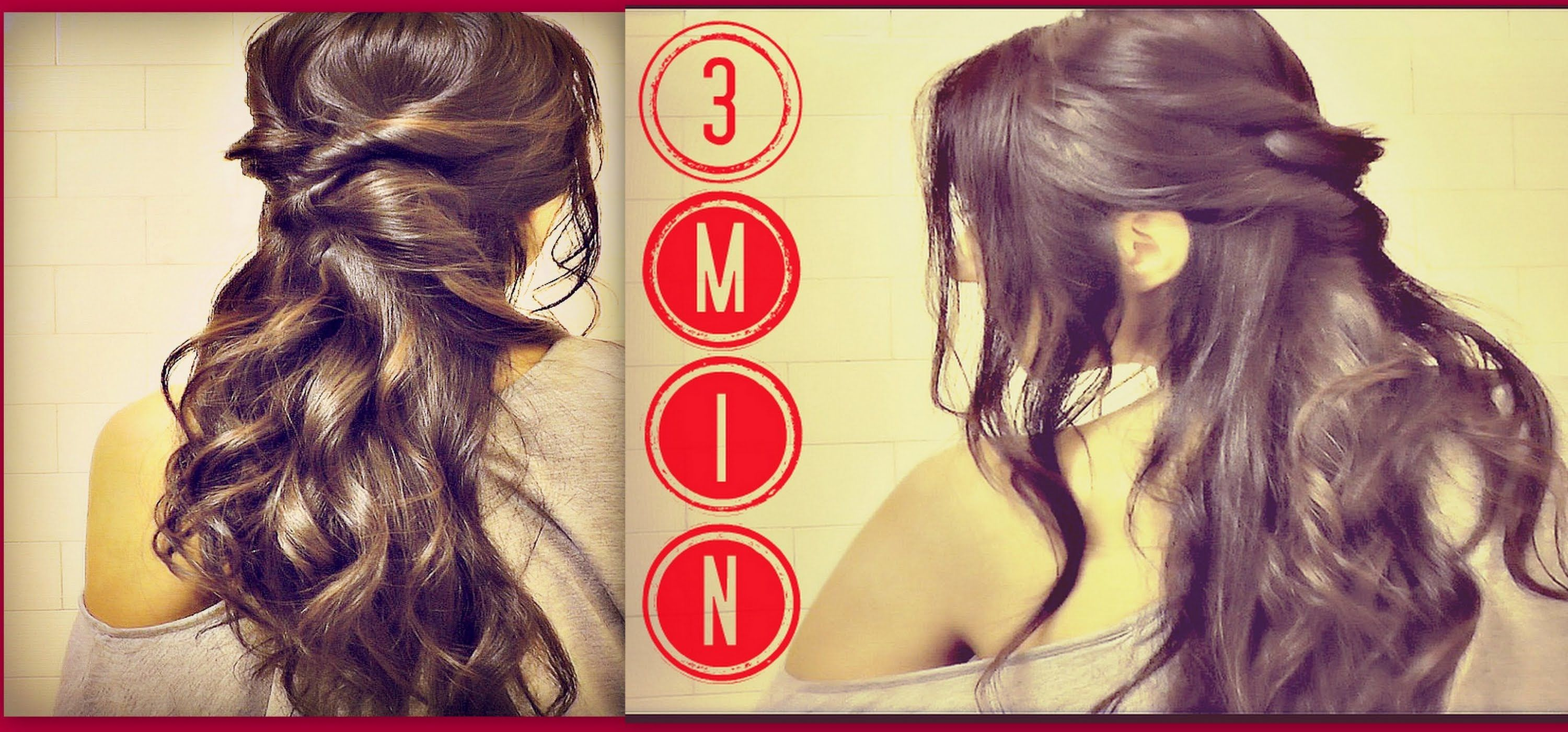 3 Min Easy Quick Everyday Hairstyles Half Up With Curls Ponytail Updo For Long Hair Tutorial Long Hair Styles Long Hair Updo Long Hair Tutorial
