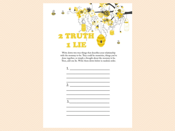 2 Truths 1 Lie Game Two A Printable Bee Theme Baby