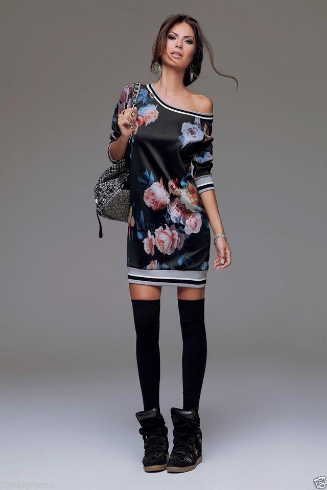 35c9e608baa6 Abito fiori dress donna Denny rose art 51DR11016 autunno inverno 2014 - 2015