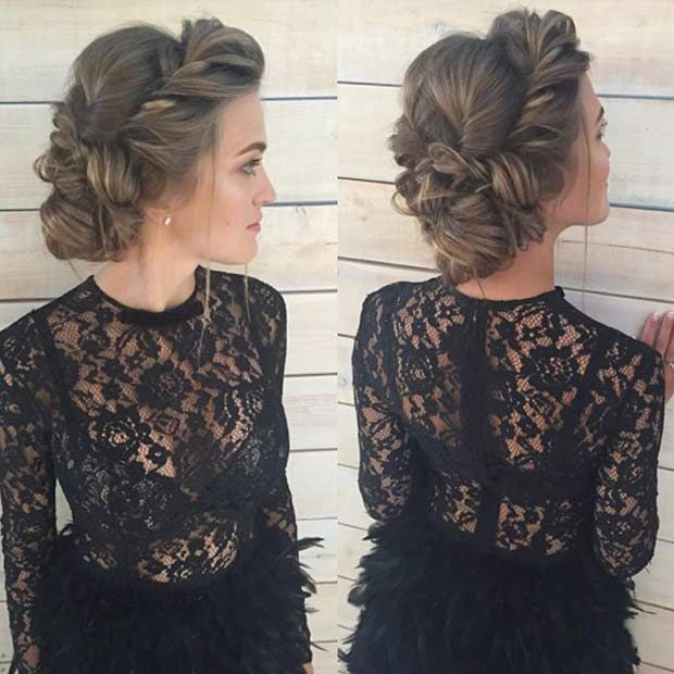 Romantic Twisted Updo for Prom