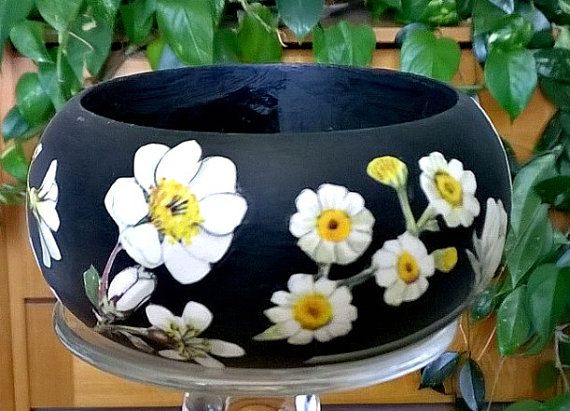 Wood Bangle Bracelet Black and White Vintage by Decoupagia on Etsy