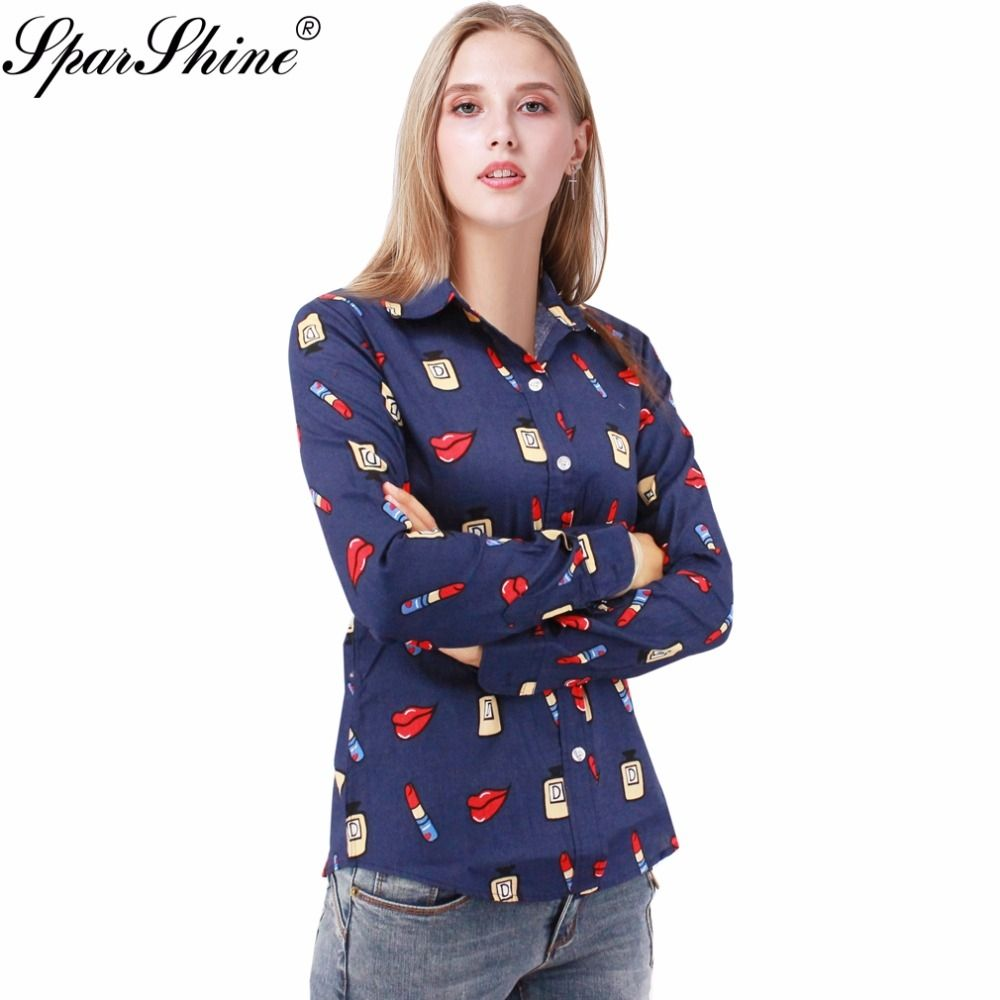 50cb083f366a86 2017 Summer Long Sleeve Lipstick Lips Print Women Blouse Shirt Floral White  Navy Shirts Top Blusas Plus Size S-5XL
