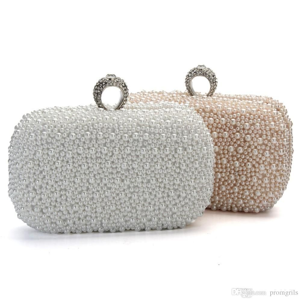 2018 Women Evening Clutch Bag Gorgeous Pearl Crystal Beading Bridal Wedding  Party Bags Crossbody Handbags Phone
