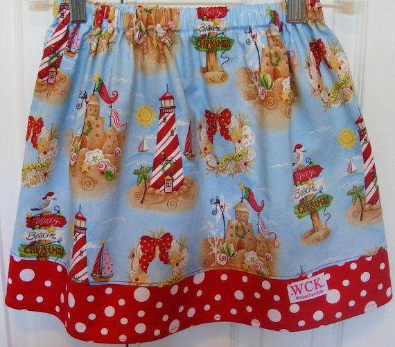 Merry Christmas at the Beach Skirt 12 mos 18 by wickedcutekidz