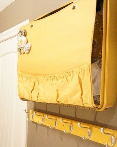 Suitcase wall storage (link to tutorial in this post). So cute!!
