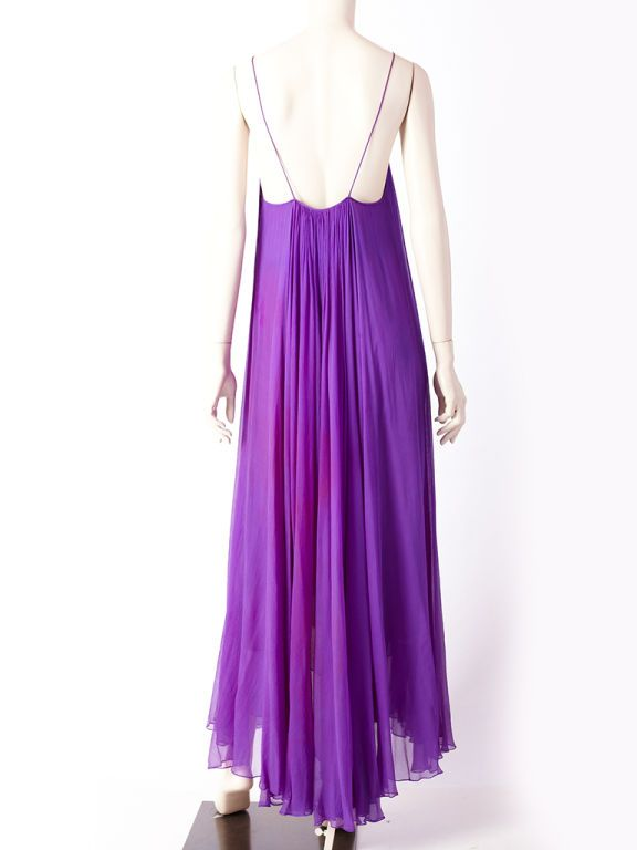 7a02a9debe8 Yves St. Laurent Purple Chiffon Couture Evening Gown