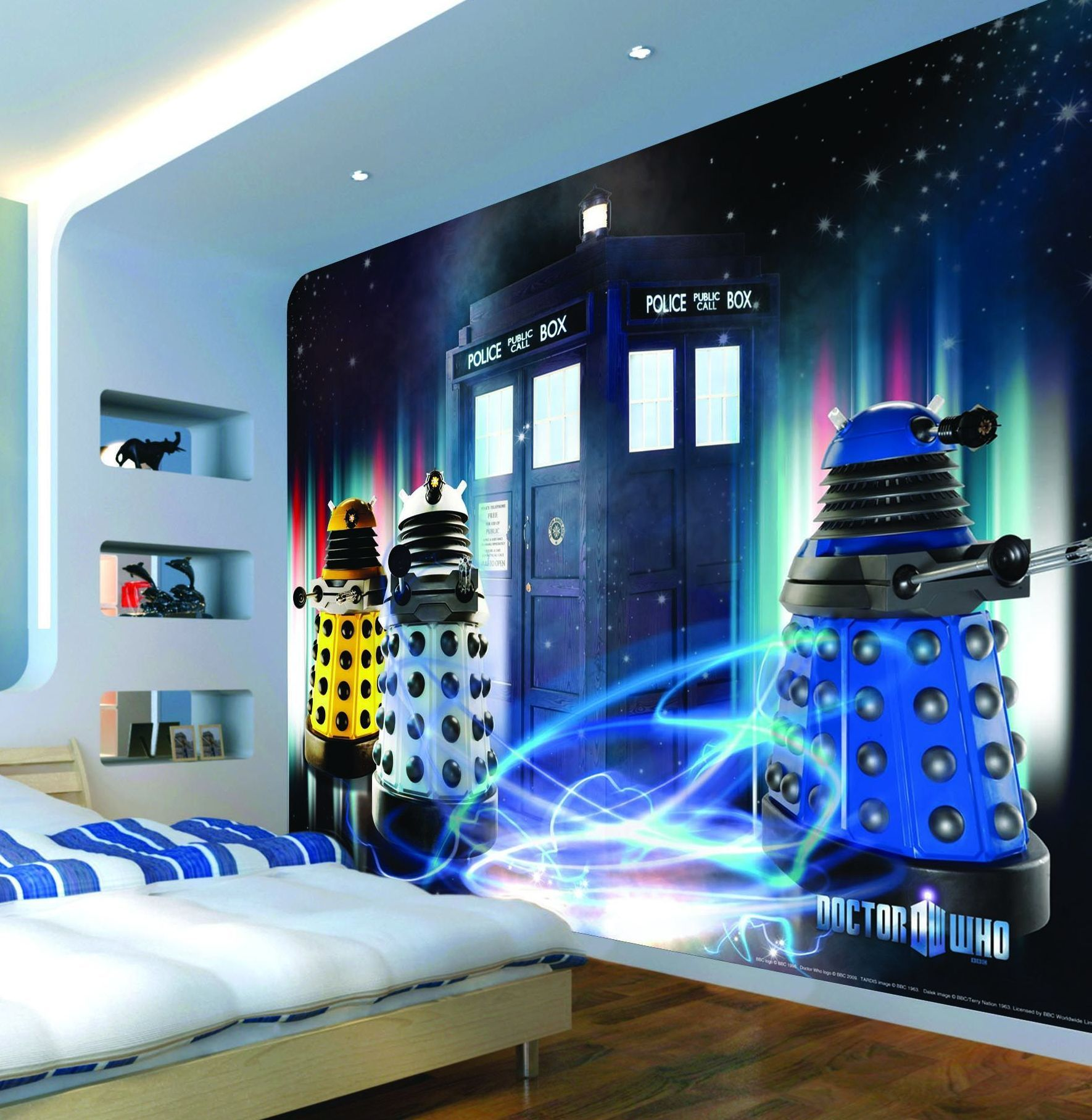 Beautiful Dr Who Daleks And Tardis Mural Daleks And Tardis)   Murals Murals    Officially Licensed Dr Who Mural U2013 Showing The Tardis Surrounded By Daleks,  ...