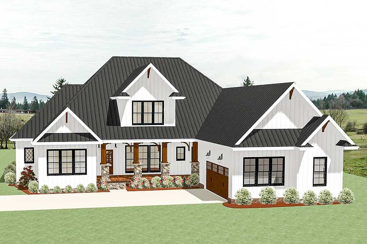 Plan 46333LA 4 Bed Country Craftsman With Garage Options