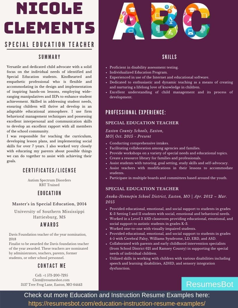 Special Education Teacher Resume Samples & Templates [PDF
