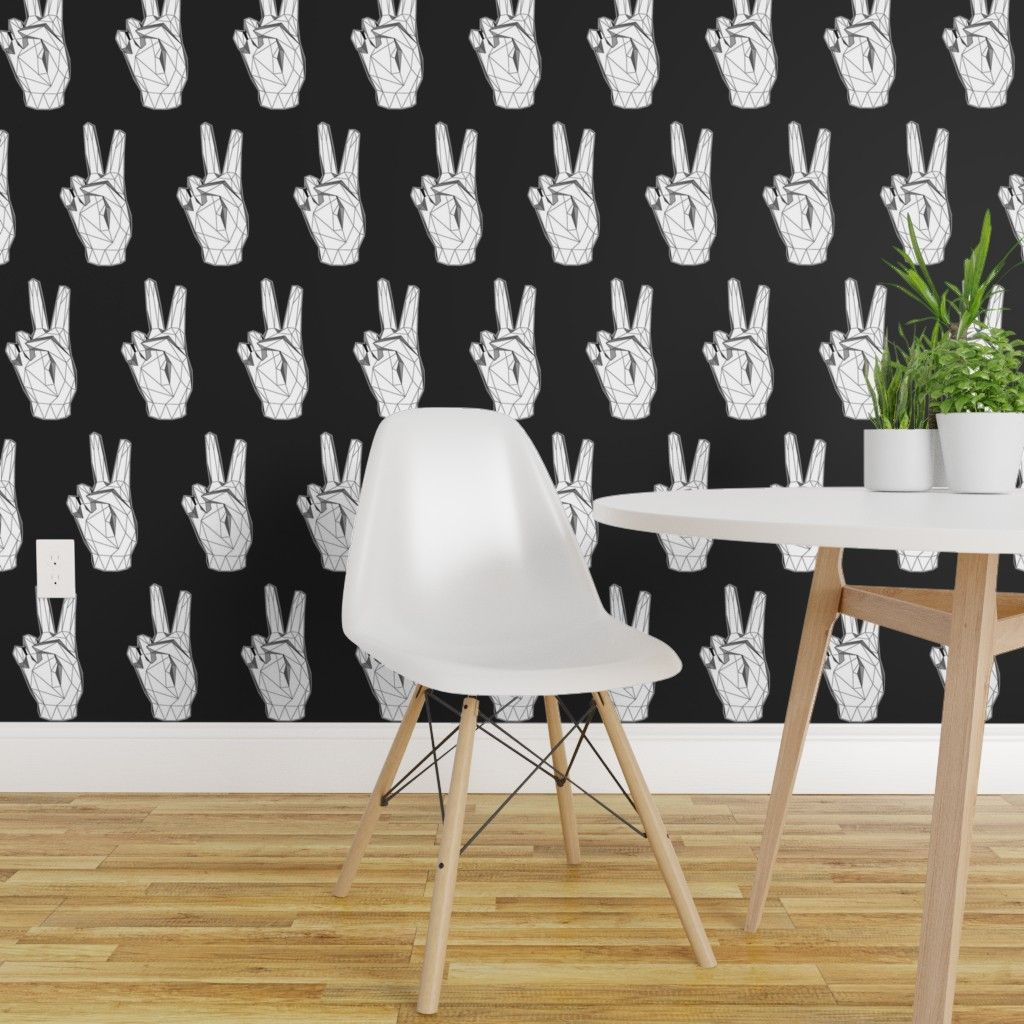 Peel And Stick Removable Wallpaper Peace Black And White Geometric Hands Hand Walmart Com Walmart Com In 2020 Removable Wallpaper Wallpaper Wall Colors