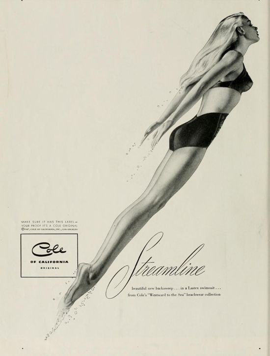 """""""Streamline – beautiful new backsweep… in a Lastex swimsuit… from Cole's """"Westward to the Sea"""" beachwear collection. """"  'The Californian' magazine from February 1947"""