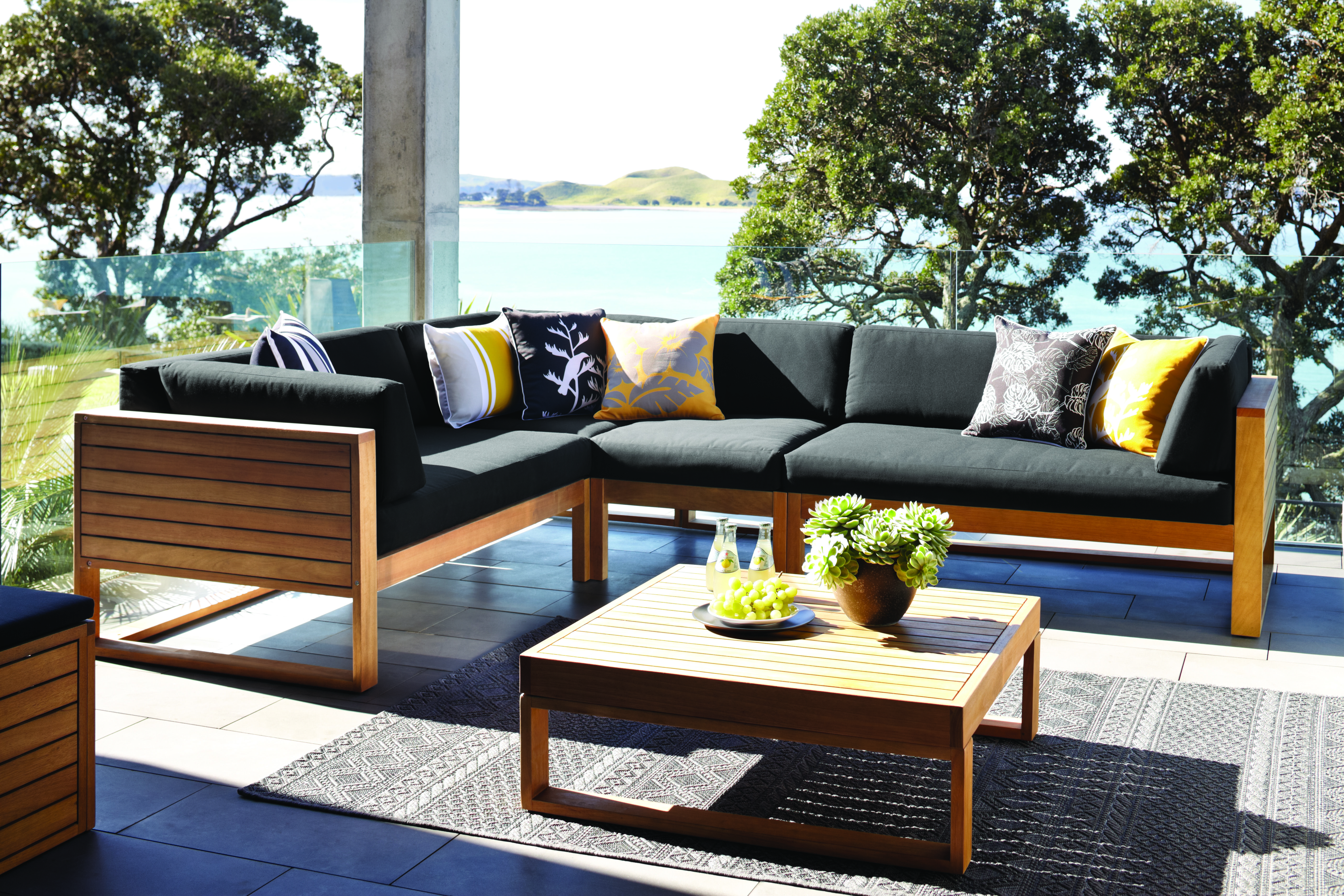 the ventura outdoor corner lounge setting offers comfort to relax in