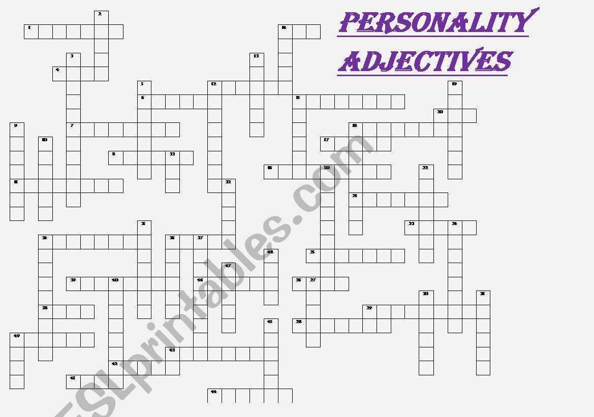 Personality Adjectives Crossword Fully Editable With Key