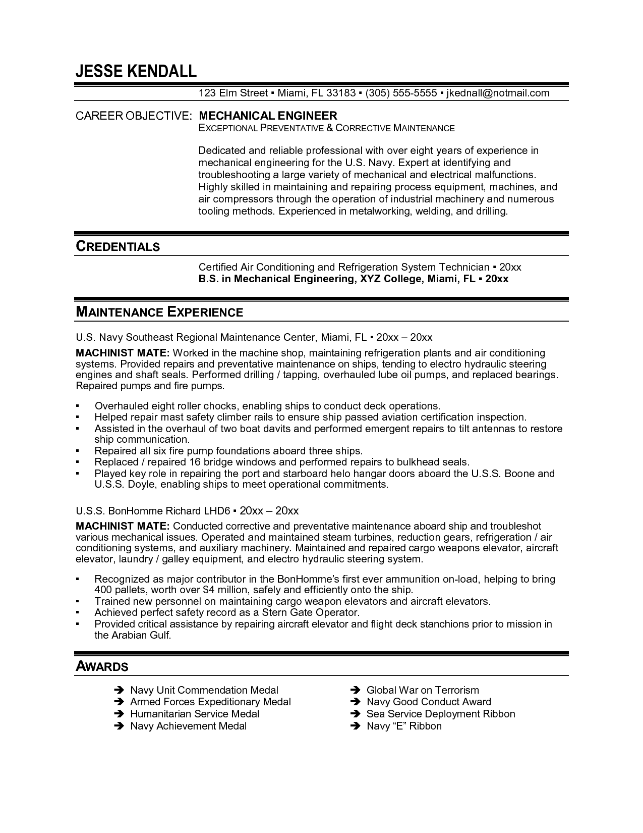 Instrumentation And Control Engineer Sample Resume Electronics