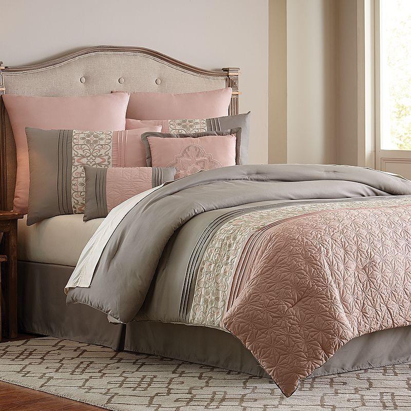 Design An Elegant Bedroom In 5 Easy Steps: VCNY 8-piece Blush Clover Comforter Set