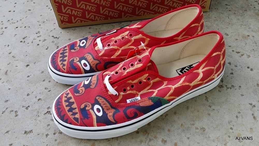 21a75a350b89fe Vans Authentic CUSTOM CULTURE RED canvas skate shoes Men s size 11 Rare   VANS  FashionSneakers