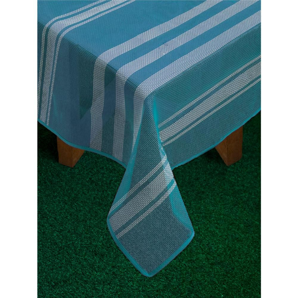Lintex Bistro Stripe 70 In Round Blue Vinyl And Poly Tablecloth Tablecloth Sizes Striped Table Runner Vinyl Tablecloth