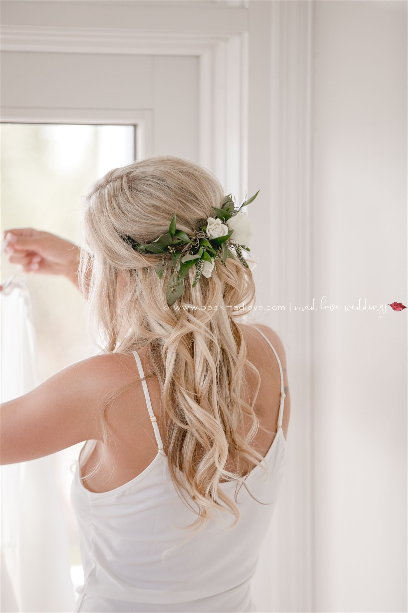 bridal hair and makeup hair greenery piece blonde wavy hair