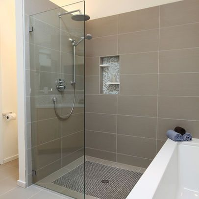 Bathroom ideas on pinterest contemporary bathrooms wall for Bathroom 12x24 tile