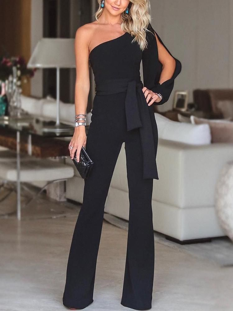 e527011272bf Stylish One Shoulder Slit Sleeve Black Jumpsuit