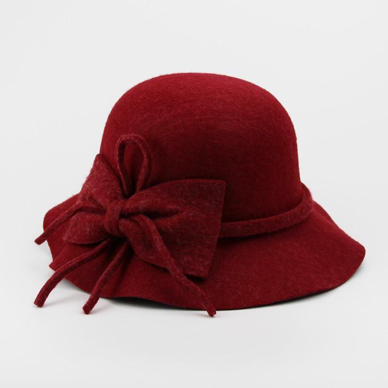 f2a46ff6e9199f Fashion Vintage wool Wide-Brim Fedoras Hats for Women Bowler Floppy  Feminino Autumn Ladies Cap Bowler Gambler Top Hat wholesale  #HatsForWomenBowler