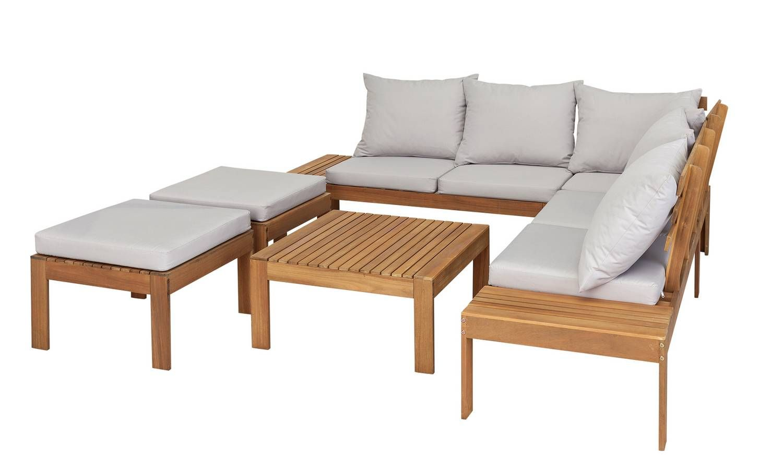 Buy Argos Home 6 Seater Wooden Corner Sofa Set Patio Sets Argos In 2020 Corner Sofa Set Corner Sofa Garden Wooden Garden Furniture