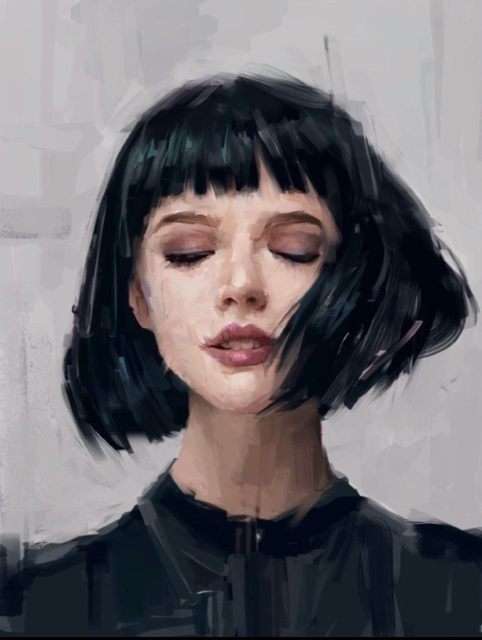 Unknown Artist Black Haired Girl Portrait Art Portrait