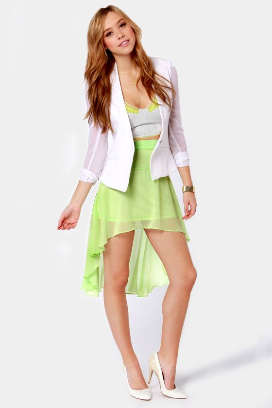 Cascade-ered Affair Green High-Low Skirt