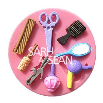 Makeup Mirror Tool Comb Hair Dryer Cooking Tools Silicone Fondant Gum Paste Mold Cake Decorating Clay Resin Candy Fi Chocolate Molds Silicone Molds Tool Design