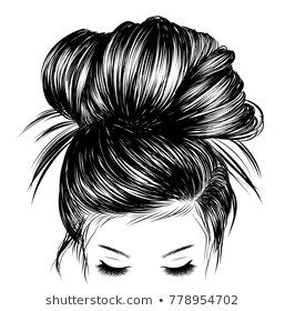 Hand Drawn Beauty Woman With Luxurious Cute Bun Hairstyle Idea For Card Typography Vector Wedding Style Girls Cartoon Art Female Artwork Girly Art