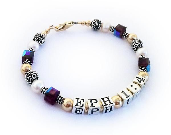 EPHESIAN 1:4 Bible Verse Bracelet Gold Sterling Silver and