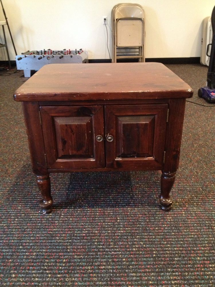 Ethan Allen Kling Colonial Dark Antiqued Pine Old Tavern Cabinet End Table End Tables Table Coffee Table