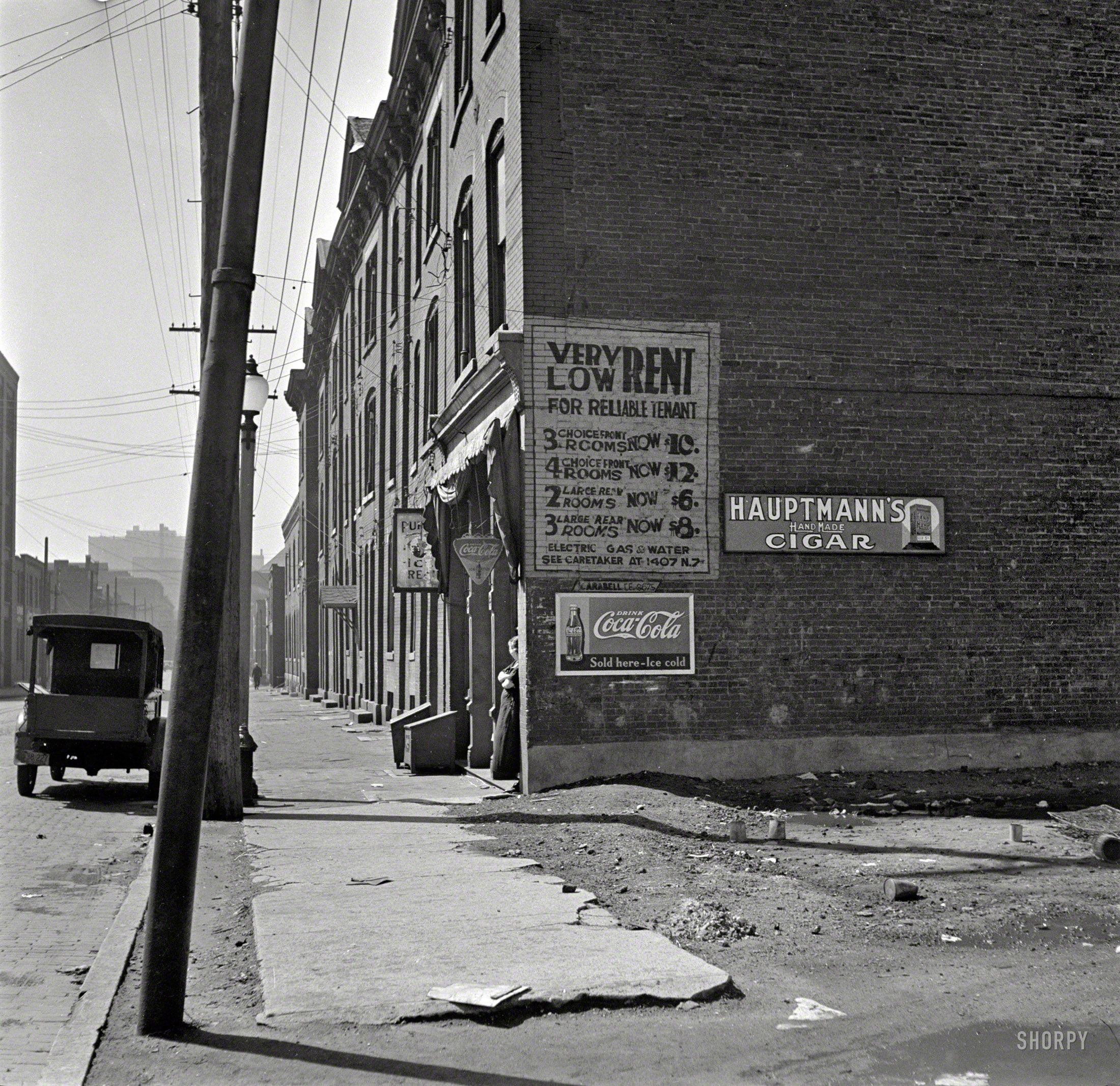 """March 1936. """"Low-cost Housing. Saint Louis, Mo."""" Cigars"""