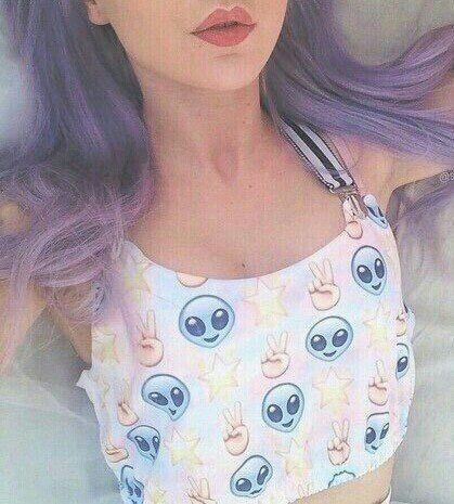 Image via We Heart It https://weheartit.com/entry/170543468 #alien #aliens #fashion #goth #grunge #lips #outfit #spring #summer #pastelgoth