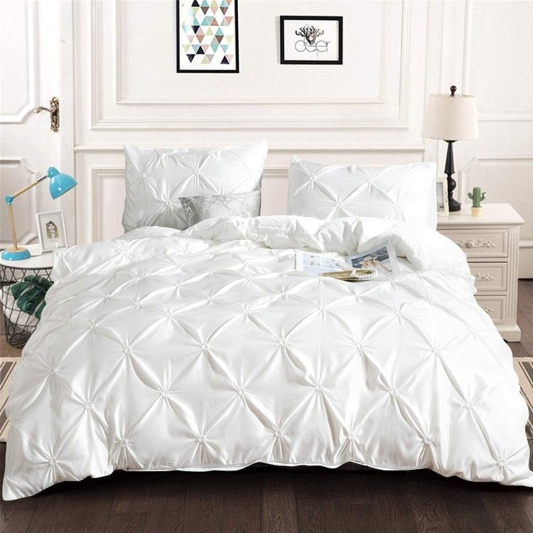 White Pintuck Comforter Set King All Season Pinch Pleat Solid Comforter With 2 Pillowcases Luxury White Duvet Bedding Pintuck Duvet Duvet Bedding Sets