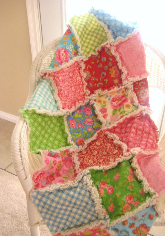 Baby Rag Quilt Patchwork Scrappy Baby Blanket by PeppersAttic, $122.00